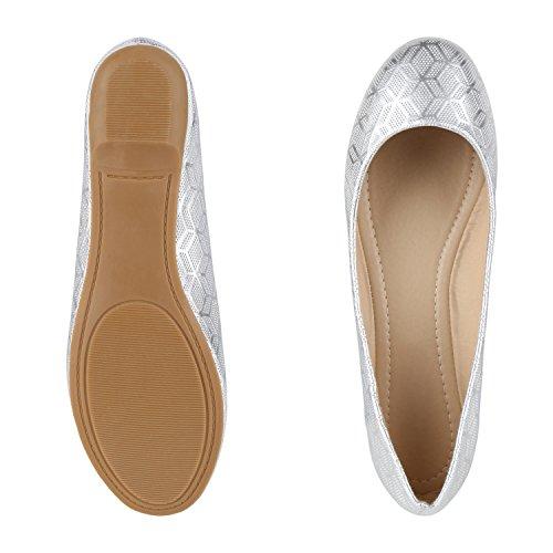 napoli-fashion Klassische Damen Ballerinas Leder-Optik Slipper Flats Metallic Schuhe Glitzer Flache Abendschuhe Hochzeit Abiball Jennika Silber Muster