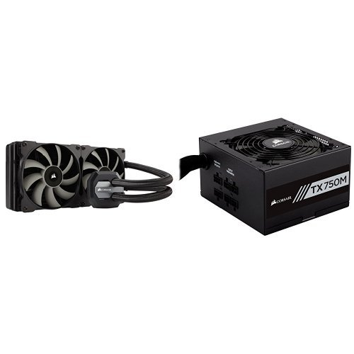 Price comparison product image Corsair Hydro Series H115i Extreme Performance Liquid CPU Cooler , Black and CORSAIR TX Series TX750M 750W 80 PLUS Gold Modular Power Supply