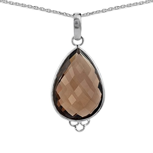 - Orchid Jewelry Sterling Silver Genuine Smoky Quartz Necklace
