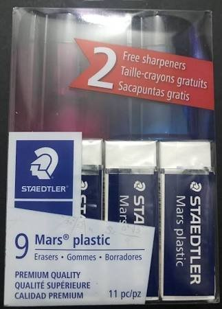 Staedtler-Mars 9 Mars Plastic Erasers + 2 Sharpeners 11pc Kit 52650WP9P