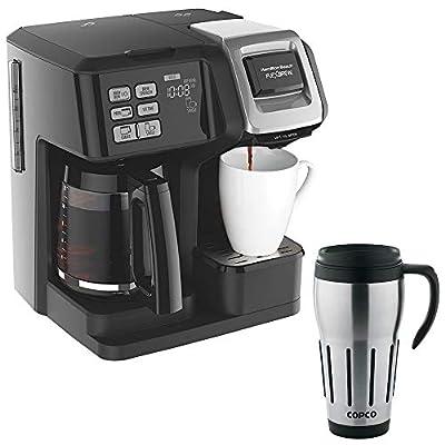 Hamilton Beach FlexBrew 2-Way Brewer Programmable Coffee Maker - Black (49976) w/ 24-Ounce Big Joe Thermal Travel Mug