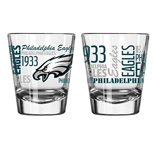 Official Fan Shop Authentic NFL Logo 2 oz Shot Glasses 2-Pack Bundle. Show Team Pride at Home, Your Bar or at The Tailgate. Gameday Shot Glasses for a Goodnight (Philadelphia Eagles - Spirit Shot)