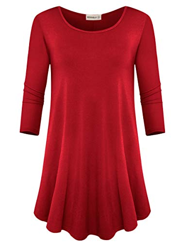 ZENNILO Womens 3/4 Sleeve Tunics Round Neck Ladies Top to Wear with Leggings (Wine Red, M)