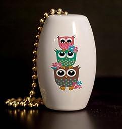 Retro Owl Stack Porcelain Fan / Light Pull
