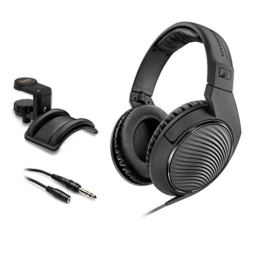 """Sennheiser HD 200 Pro Monitoring Headphones with Headphone Holder & Stereo 1/4"""" Male Headphone Extension Cable 10"""