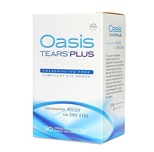 LARMES Oasis Plus gouttes oculaires lubrifiantes de secours pour les yeux secs, One Box 30 Count stérile à usage unique Conteneurs