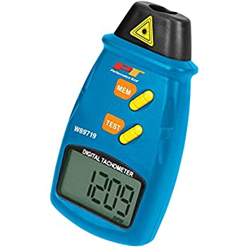 Performance Tool W89719 Professional Digital Laser LCD Tachometer Non-Contact RPM Reader with Auto Zero Adjustment for Min/Max Readings
