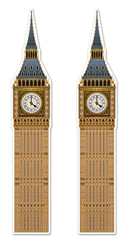Beistle 54748, 2Piece Jointed Big Ben Cutouts, 71