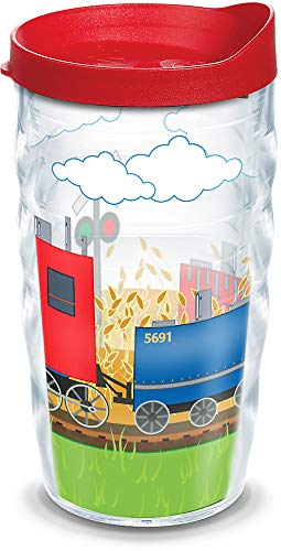 Tervis 1127116 Trains Insulated Tumbler with Wrap and Red Lid, 10oz Wavy, Clear