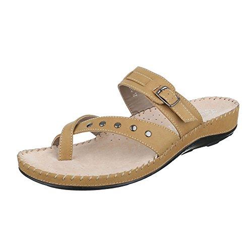 Ital-Design - Sandalias de vestir de Material Sintético para mujer marrón claro