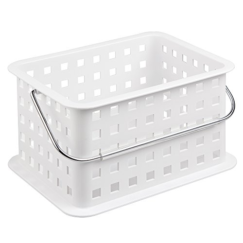 InterDesign Household Storage Basket with Handle for DVDs, Video Games and more - Small, White (Small White Basket With Handle compare prices)