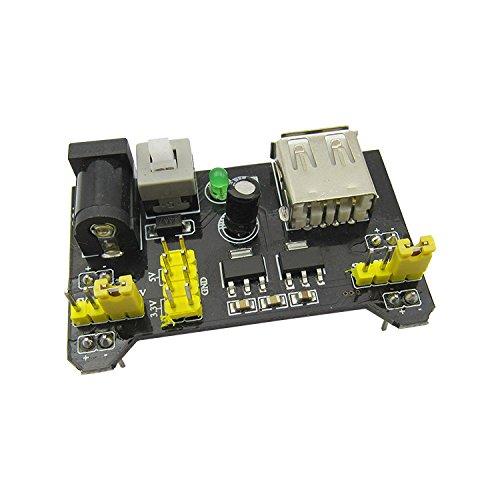 ADAM SYEX Bread board dedicated power supply module compatible with 3.3V MB-102 5V power supply board dual path 5V/3.3 black