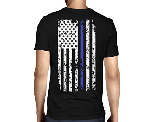 HAASE UNLIMITED Men's Thin Blue Line American Flag T-Shirt (Black, XX-Large)]()