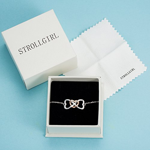 STROLLGIRL 925 Sterling Silver Unique Infinity Charm Heart Bracelet Adjustable Jewelry Gifts for Women by STROLLGIRL (Image #4)