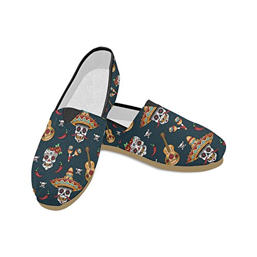 D-Story Fashion Sneakers Flats Dancing Skeletons Womens Classic Slip-On Canvas Shoes Loafers Multi3 0Z6y29AfT