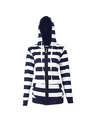 Ownmagi Women Pocket Hoodie Sweatshirt Hooded Jacket Striped Tops Zipper Outwear(S)