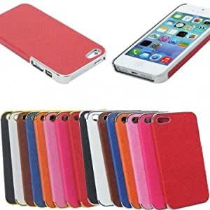 Aluminum Chrome Leather Hard Back Cover Case Protector For iPhone 5 5S --- Color:Orange+Silver