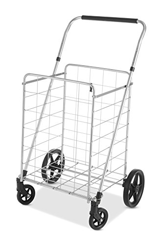 Whitmor Utility Cart with Adjustable Height Handle-Silver/Black ()
