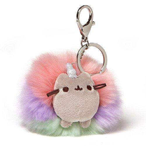 GUND Pusheen Rainbow Unicorn Cat Plush Pom Deluxe Keychain, Multicolor, 4
