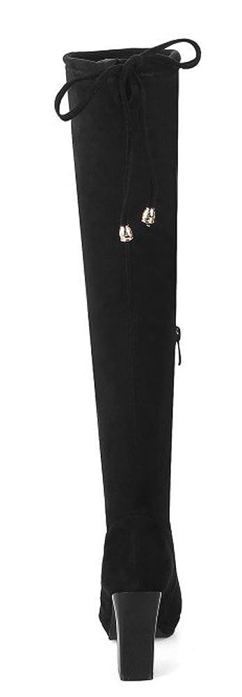 Aisun Damen High Sexy Overknee Plateau Spitz Zehen Blockabsatz High Damen Heels Langschaft Stiefel mit Reißverschluss 25ccbc
