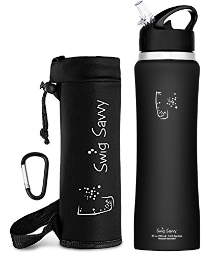 Swig Savvy Stainless Steel Insulated Leak Proof Flip Top Straw Cap Water Bottles with Pouch & Clip, 25oz, Black