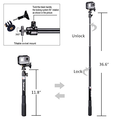 Smatree Telescoping Extendable Selfie Stick with Tripod Stand for GoPro Hero Fusion/6/5/4/3+/3/2/1/Session/GOPRO HERO (2018), Ricoh Theta S/V, M15,Compact Cameras,iPhoneX,Galaxy S8 and Cell Phones by Smatree (Image #3)