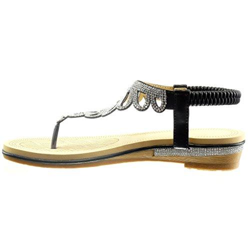 Angkorly - Scarpe da Moda sandali cinturino slip-on donna strass intrecciato Tacco a blocco 4 CM - Nero