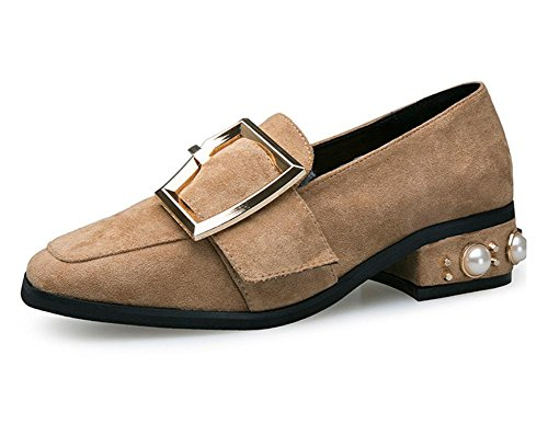 New square head with a single shoes female metal buckle pearl low heels Camel 8G1nscvz