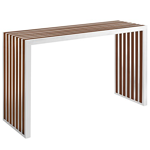 Modway Gridiron Contemporary Modern Stainless Steel Console Table With Wood (Aluminum Console)