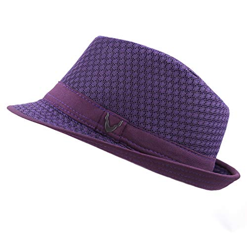 Black Horn 200G1015 Classic Cool Soft Mesh Fedora hat (L/XL, Purple)