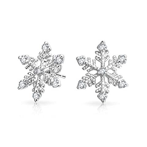 Bling Jewelry Winter Snowflake Pave CZ Stud earrings 925 Sterling Silver 10mm (Sterling Snowflake Earrings)