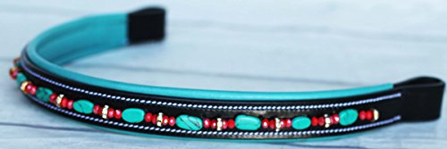 BROWBAND Bling Crystal Horse English Bridle USA Leather Polo Turquoise (Leather Browband Bridle)