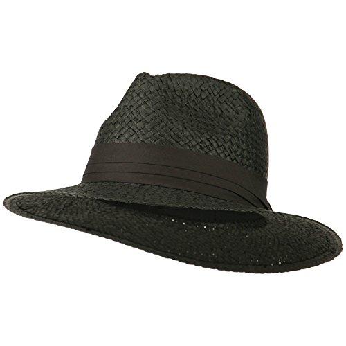Panama Straw Fedora Hat - Black (Ml Straw Hat)