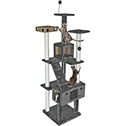 FurHaven Pet Cat Tree | Tiger Tough Cat Tree House Furniture for Cats & Kittens, Double Decker Playground, Silver Gray