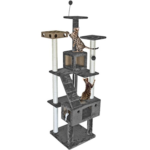 Furhaven Pet Cat Tree | Tiger Tough Cat Tree House Condo Entertainment Playground Furniture for Cats & Kittens, Double Decker Playground, Silver Gray (Cat Tree For Multiple Cats)