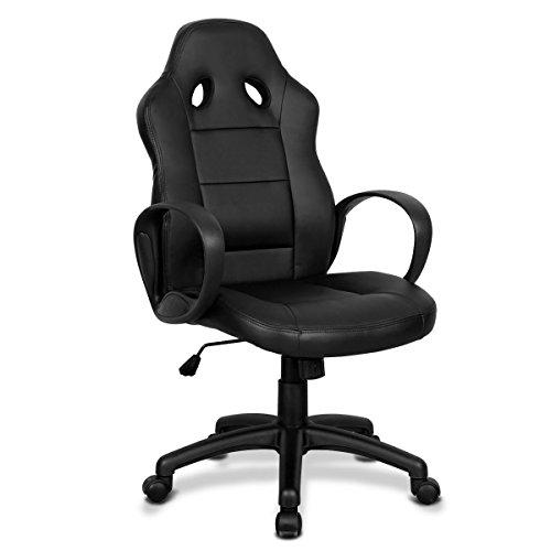 Giantex High Back Race Car Style Bucket Seat Office Desk Chair Gaming Chair (Black) Giantex