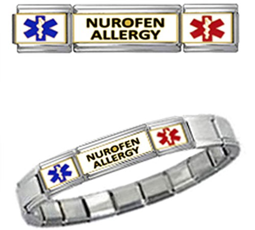 nurofen-allergy-medical-id-9mm-italian-charm-silver-tone-matte-brushed-starter-bracelet