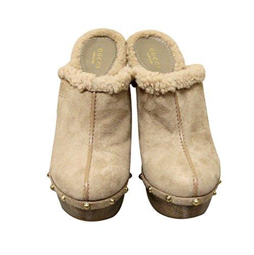 Gucci Platform Shoes (Gucci Beige Suede Shearling Platform Runway Clogs Sandals Shoes 269724 (9 US / 39 IT))