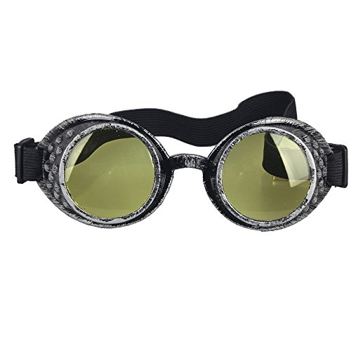 OMG_Shop Old Silver Frame Steampunk Goggles Glasses Vintage Victorian welding Cosplay Goth Punk Costume (Yellow Lens)