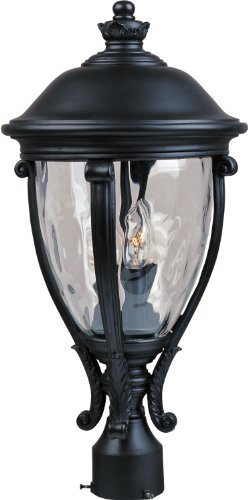 Maxim 41421WGBK Camden VX 3-Light Outdoor Pole/Post Lantern, Black Finish, Water Glass Glass, CA Incandescent Incandescent Bulb , 60W Max., Dry Safety Rating, Standard Dimmable, Fabric Shade Material, Rated (Camden Vx 3 Light)