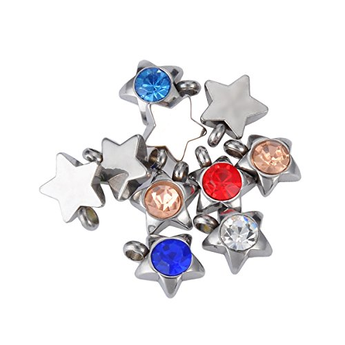 HOUSWEETY Stainless Steel Silver Colorful Crystal Pendant Star-Shaped Charms 10PCs 9x7mm