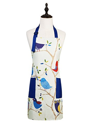 Bird Apron - Love Potato Cute Cartoon Pattern Adjustable Kitchen Cooking Apron with 2 Pockets for Women and Men, Bird