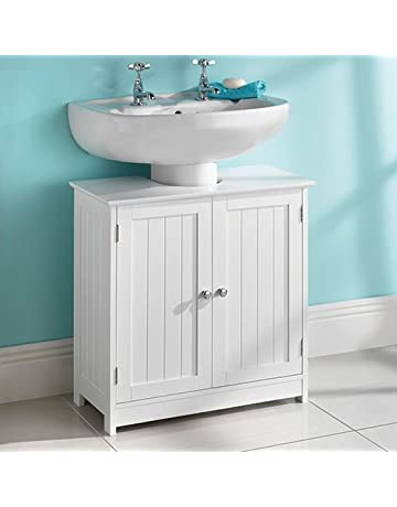 armario de baño para debajo del fregadero, de madera blanca