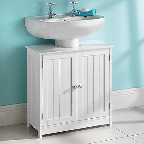 armario de baño para debajo del fregadero, de madera blanca: Amazon.es: Hogar