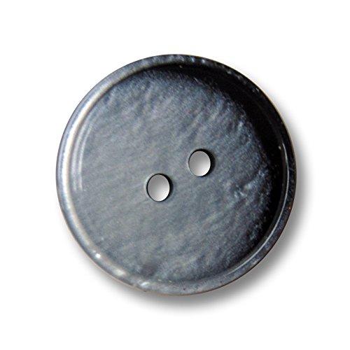 Button Paradise Sewing Buttons - Set of 20 Classic Plastic Buttons in Mother fo Pearl Look - Colour: Grey, Black (shimmering) Ø approx. 0.59