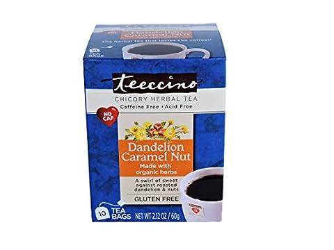 Teeccino Dandelion Caramel Nut Chicory Herbal Tea Bags, Gluten Free, Acid and Caffeine Free, 10 - Caffeine Free Coffee