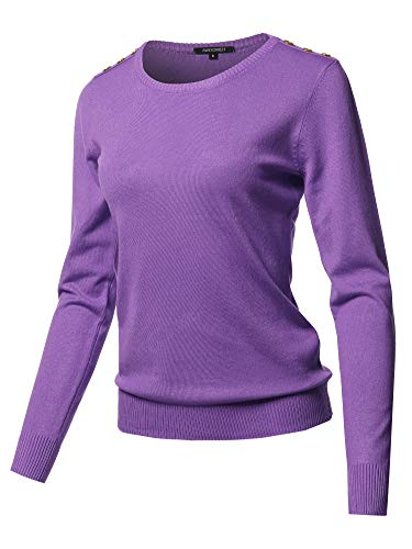 Solid Button Detailed Round Neck Viscose Knit Sweater Top Violet L ()