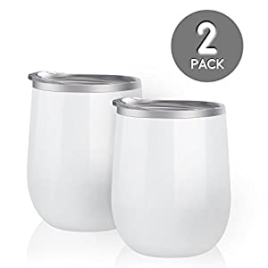 Maars Bev Steel Stemless Wine Glass Tumbler, 12 oz | Double Wall Vacuum Insulated | 2 Pack - White