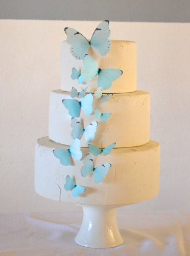 Edible Butterflies - Baby Blue Set of 15 - Cake and Cupcake Toppers, Decoration
