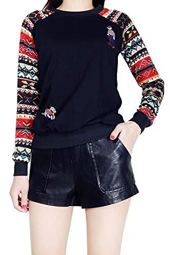 Chemises Femmes l Floral Chemise No Manches Tops Longues Rennes Pull Black3 De qqBHrz
